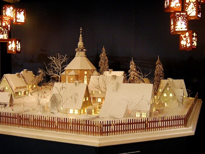 Christmas mountain scene in the Seiffen Toy Museum