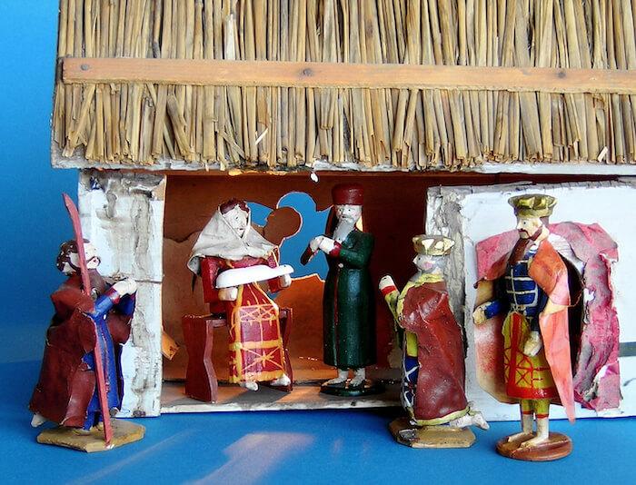 Crib with nativity scene